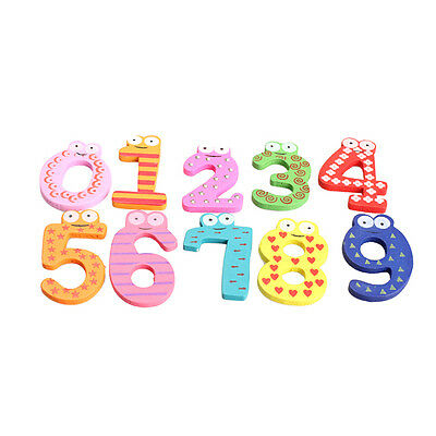 10PCS Cute Numbers Wooden Fridge Magnetic Animal Sticker Figure Toy Gift