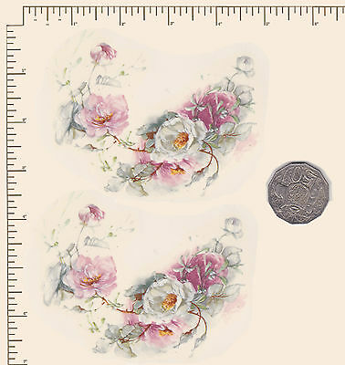 2 x Waterslide ceramic decals Decoupage Flowers Pink and white Roses PD724
