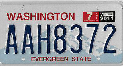 2011 Authentic Washington State License Plate # Aah 8372 Bcplateman Nice
