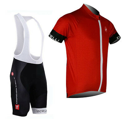 2017 New Mens Cycling Race Jersey Bib Shorts Garments Short Sleeve Maillot Red
