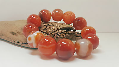 Bracelet Natural Agate Gemstone 92,3g Stone Bead Brown Red Rare Old Sea A-257