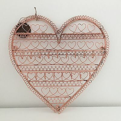 Contemporary Industrial Style Copper Heart Wall Hanging Jewellery Holder Display