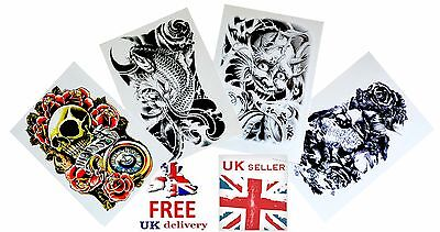 UK SELLER -    3D Waterproof Arm, Leg, Body Art Temporary Tattoo Stickers