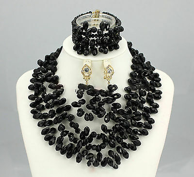 Black Party Bridal Wedding African Nigerian Beads Necklace Earring Jewelry Set