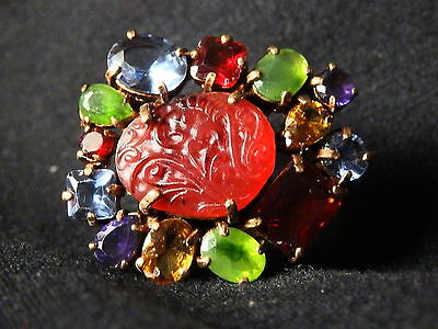Vintage Replica Ring with Faux Gemstones Size 7
