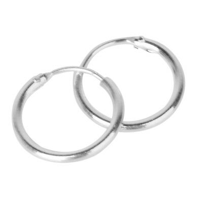 Pair 925 Sterling Silver Hinged Hoop Sleepers Earrings Ring Lip Nose 10mm