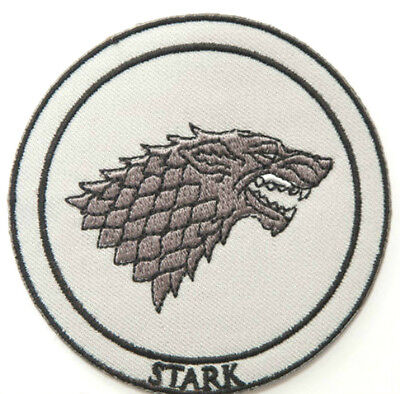 """House Stark Patch 3"""" Emblem Embroidered Badge Game of Thrones Dire Wolf Insignia"""