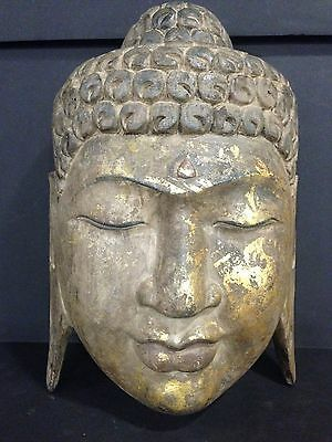 """Lovely Vintage Hand Carved Wood Buddha Head 13.5"""" Tall Wall Mount"""