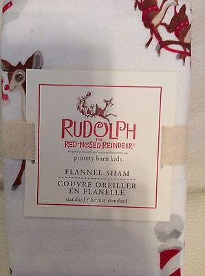 Pottery Barn Kids Rudolph Flannel Standard Sham NIP! Christmas Holiday