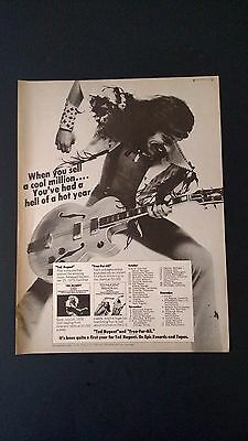 "Ted Nugent ""free-For-All""  (1976)  Rare Original Print Promo Poster Ad"