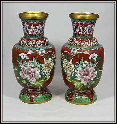 """Pair of  """"Hand Made Mirror Image Chinese Cloisonne Vases""""  (12.25"""" H x 6 """" W)"""