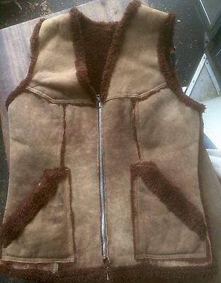 Vintage Brown Western Sheepskin Shearling Vest Mens S
