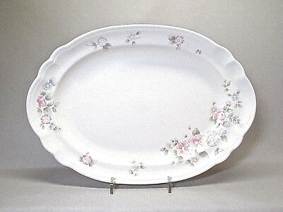 Pfaltzgraff Tea Rose .. 14 Inch Oval Serving Platter With Scalloped Edge