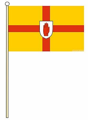 "ULSTER 18"" x 12"" LARGE HAND WAVING COURTESY FLAG & POLE"
