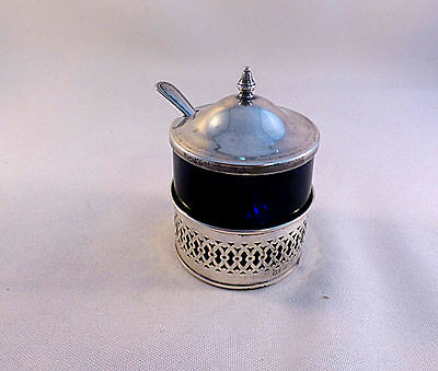 Webster Sterling & Cobalt Mustard Pot & Spoon
