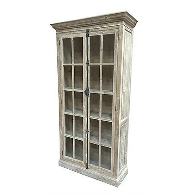 French Country White Wash Reclaimed Wood Cabinet Display Curio/Bookcase,85.5''H.