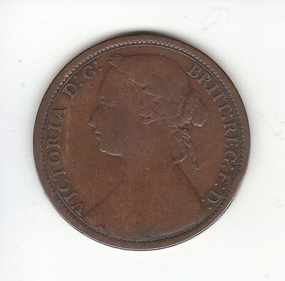 1874 H Great Britain Victoria 1 Penny.  NARROW DATE.