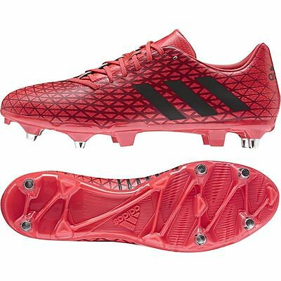 Adidas - Schock Red Adidas Malice Soft Ground Rugby Boots - Size Uk 8