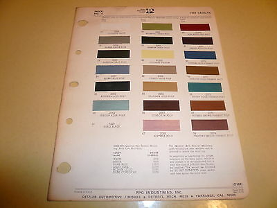 1969 Cadillac Ditzler PPG Color Chip Paint Sample - Vintage