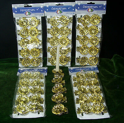 10 Vintage Classic Solid German Clip-On Christmas Tree Gold Candle Clips Holders