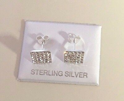 UK Made STERLING SILVER Stud Earrings 9mm Square simulated Diamonds Men's Womens