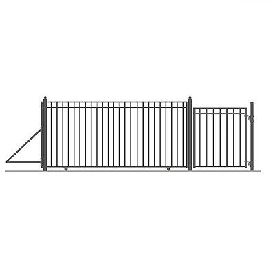 ALEKO Madrid Style Iron Wrought Sliding Driveway Gate 14' And Pedestrian Gate