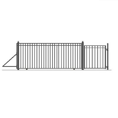 ALEKO Madrid Style Iron Wrought Sliding Driveway Gate 16' And Pedestrian Gate
