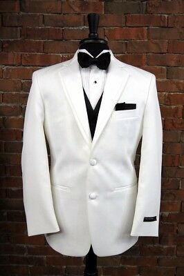 MENS NEW 38 S WHITE SLIM FIT DINNER JACKET TUXEDO 2 BUTTON NOTCH by PERRY ELLIS