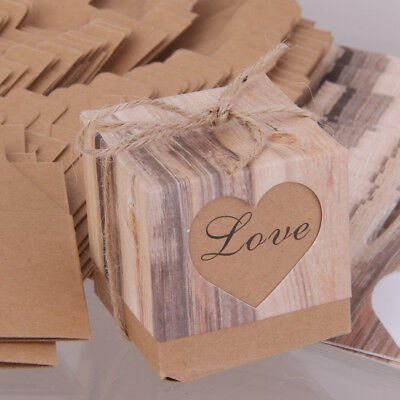 50pcs Brown Shabby Square Sweets Candy Gift Boxes for Wedding Party
