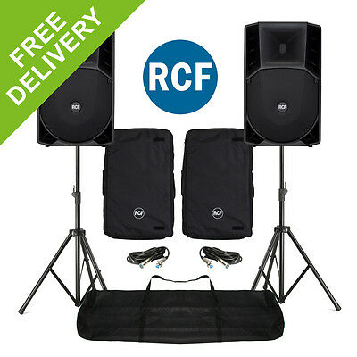 RCF ART 715A MK2 Active Powered PA Speakers, Stands and Covers DJ Live Sound