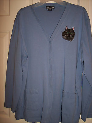 Women's Button-Down LANDS' End Knit Jacket With Embroidered Cat Size XL - NEW!