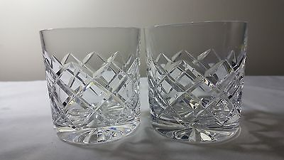 Rare pair of Stuart Crystal Beau pattern Stourbridge large glass whiskey tumbler