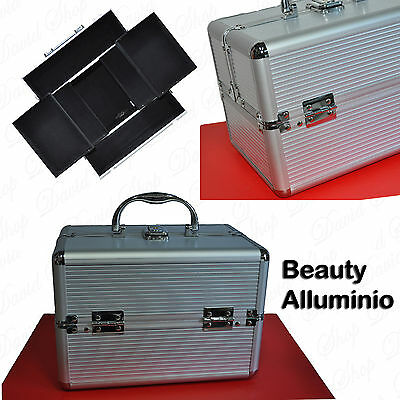 Valigetta Beauty Case Make Up Nail Art Porta Trucco Alluminio Estetista