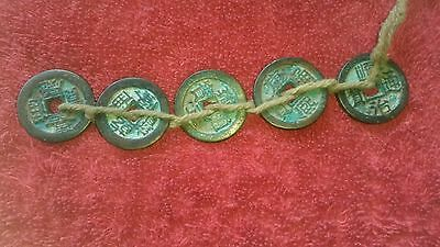 Set of 5 Chinese Emperors Dynasty Square Hole Coins in Order.Very collectible
