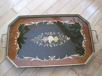 Wooden Serving Tray Inlay Brass Handles Italy