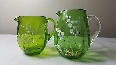 Victorian green lily of the valley glass creamers