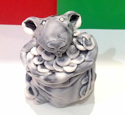 Rat figurine marble chips handmade Souvenirs Russia small rodent bag with dollar