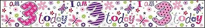 Age 3/ 3Rd Birthday Banners Girl Pink Foil (Se)