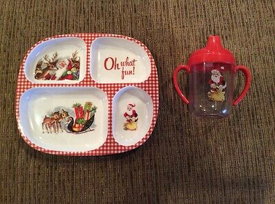 POTTERY BARN KIDS Toddler's Christmas Plate and sippy cup