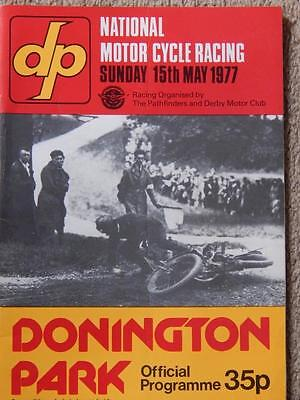NATIONAL MOTOR CYLE RACE PROGRAMME DONNINGTON PARK 15 May 1977 Signed Stan Woods