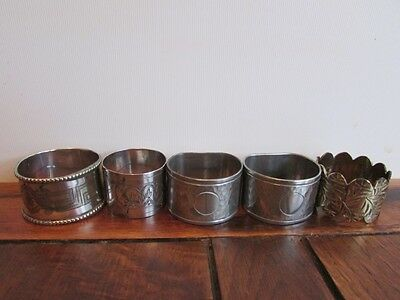 X5 Vintage Mixed Napkin Rings / Holders