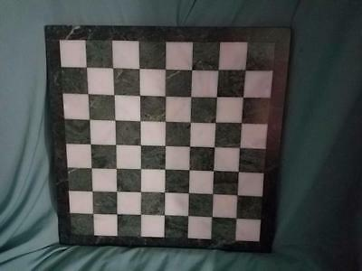 Green and White Alabaster Chessboard