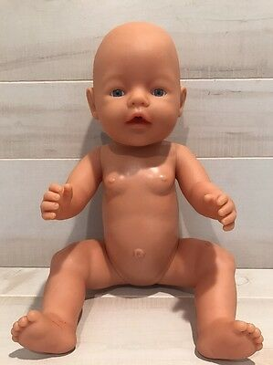 """Zapf Creation German 2003 Drink/Wet Baby Doll 17"""" Blue Eyes No Clothes Soft Head"""