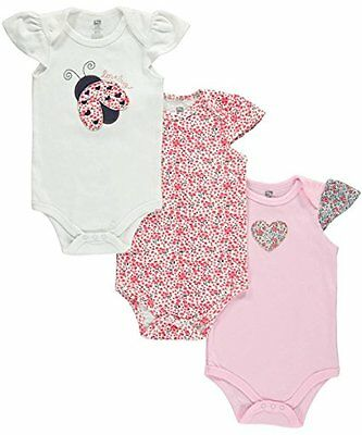 Hudson Baby Summer Baby Girls 3 Pack Pink Love Bug Sleeveless Bodysuits