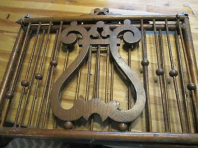 19th C Antique VICTORIAN CARVED Wood AESTHETIC Period MAGAZINE RACK Book HOLDER