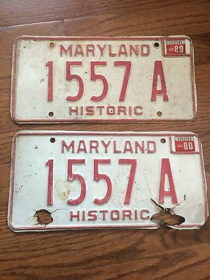 maryland license plate 1980 1557a HISTORIC
