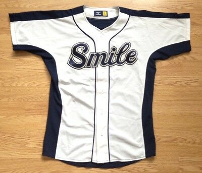Mizuno Vintage Retro Smile Japanese Baseball Sports #35 Jersey Shirt Uk M
