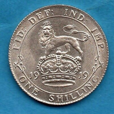 1919 Silver Shilling Coin. George V.  1/-.  High Grade.