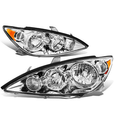 Fit 2005-2006 Toyota Camry Pair Chrome Housing Amber Corner Headlight/Lamp Set