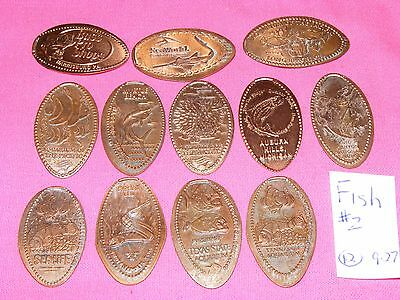 12 ASSORTED FISH THEMED Elongated Coin Rolled Pressed Smashed Pennies L927 #2